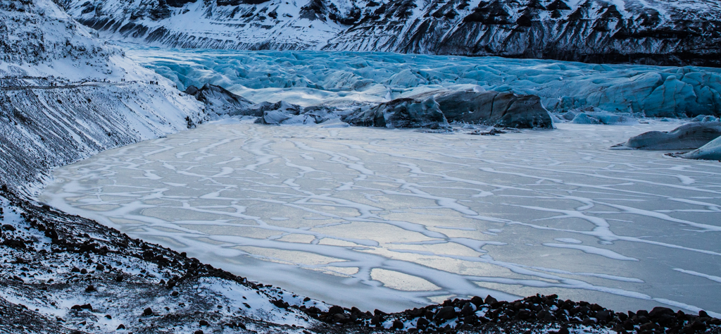 Snow and Ice Patterns on the Frozen Lagoon