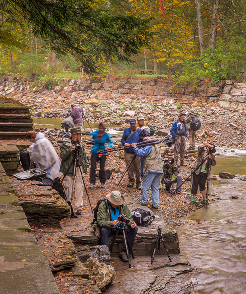 Some of the group on a rainy first day. (Image courtesy John Redin)
