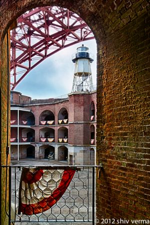 Light house and the Golden Gate from Fort Point